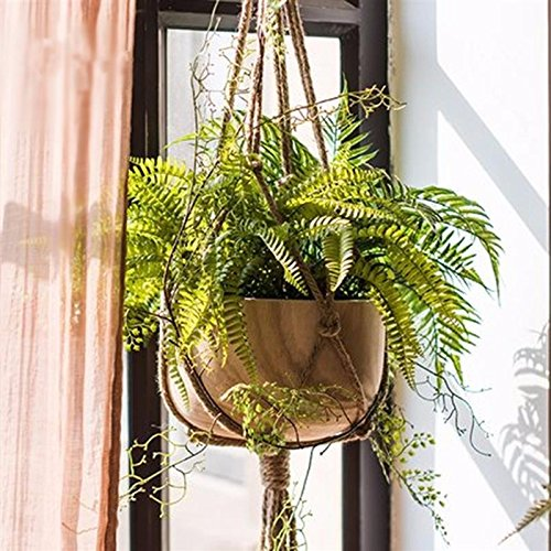 Katoot@ Handmade Plant Hanger 3 Legs Jute Woven Khaki Flowerpot Macrame Rope Flower Display For Home Garden Decoration