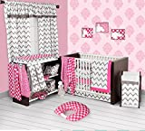 Bacati Ikat Chevron Muslin 10 Piece Crib Set with Bumper Pad, Pink/Grey Reviews