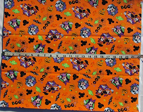 Spooky Mickey and Minnie on Orange - Cotton Fabric - Sold By The -