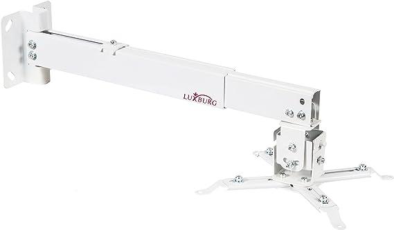 TALLA 70-120cm. Luxburg® Suporte Universal de Aluminio para Proyector (Montaje de Techo o Mural) 70-120cm Carga Maxima 15kg 30 Grados - Blanco