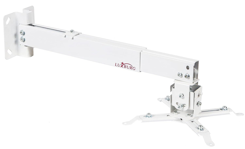 Luxburg® Kit di Supporto Parete/soffitto Universale in Alluminio per proiettore 10–20cm–sostiene 15kg 30Gradi Bianco MK-MN-10x20-AL-02