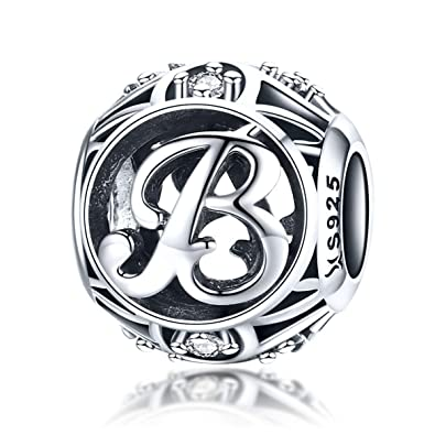 9d36ba7f9 Everbling Vintage Letter B Clear CZ 925 Sterling Silver Bead Fits Pandora  Charm Bracelet