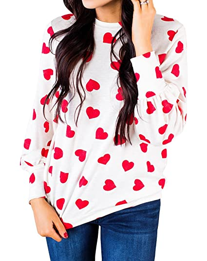Valphsio Womens Long Sleeve Heart Prints Blouse Crew Neck Valentines Tshirt Sweatshirt