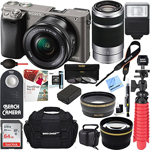 Professional Sony Alpha Dslr (Sony Alpha a6000 24.3MP Interchangeable Camera 16-50mm & 55-210mm Zoom Lens (Grey)+ 64GB Accessory Bundle + Large Gadget Bag + Extra Battery+Wide Angle Lens+2x Telephoto Lens +Flash +Remote +Tripod)