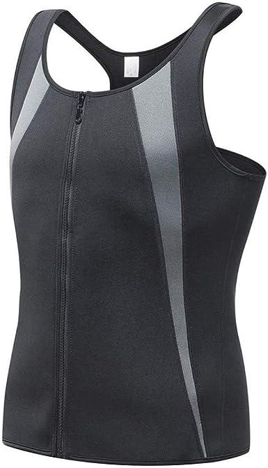 Hombres Body Slimmer Vest Waist Trainer Camisa de compresión de Neopreno Cremallera Tank Top Sauna Workout Suit Stripe: Amazon.es: Ropa y accesorios