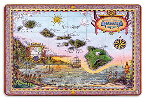 Tin Hawaii (8in x 12in Vintage Metal Tin Sign - Map of Old Hawaii - The Islands of Hawaii by Steve Strickland)