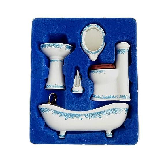 img buy Dollhouse Miniature Ceramic Bathroom Set Supplies Suites 1:12 Scale Model B