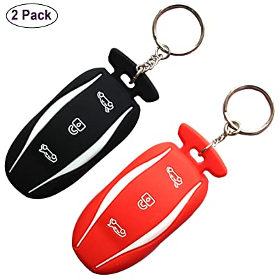 RAYSUN Key Fob Cover Holder for Tesla, 2 Pack Silicone Key Fob Remote Case Holder Protector for Tesla Model S/Model 3 (Black Red): Automotive