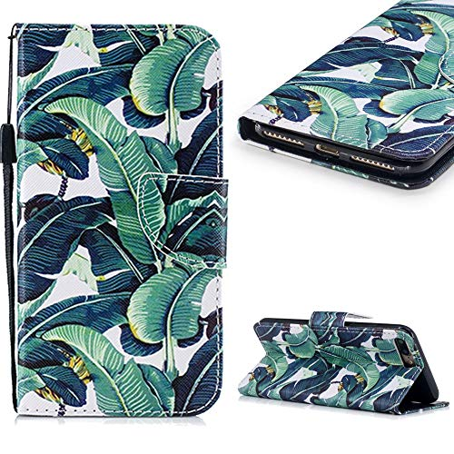 Cistor Wallet Case for iPhone 7 Plus/8 Plus,Fancy 3D Painting Magnetic Closure Flip Cover Shockproof PU Leather Stand Protective Case with Wrist Strap Card Slot for iPhone 7 Plus/8 Plus,Banana Tree
