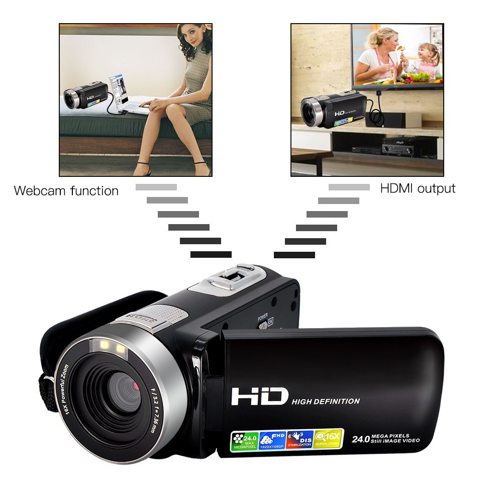 SEREE Camcorder Camera Full HD 1080p Digital Video Recorder 3 Inch LCD 270 Degree Rotatable Screen