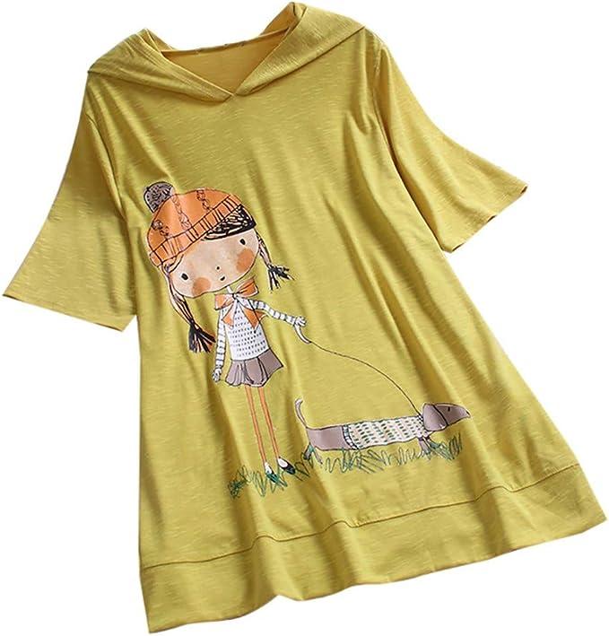 JURTEE Camiseta con Capucha para Mujer Casual Talla Grande Estampado De Dibujos Animados Casual Top Manga Corta Blusa: Amazon.es: Ropa y accesorios