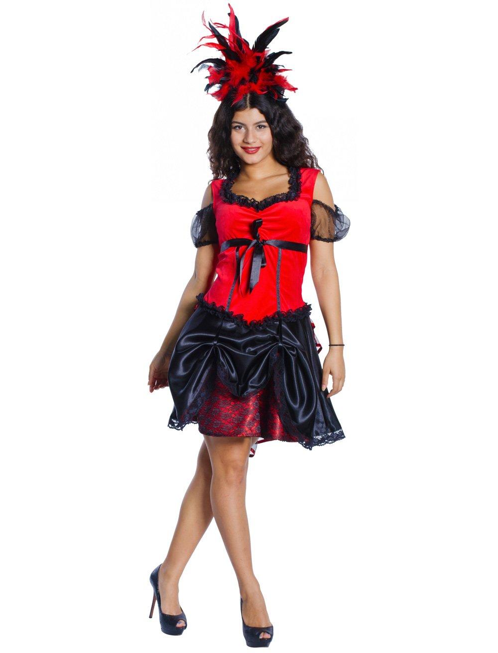Kleid Burlesque Dame rot/schwarz L