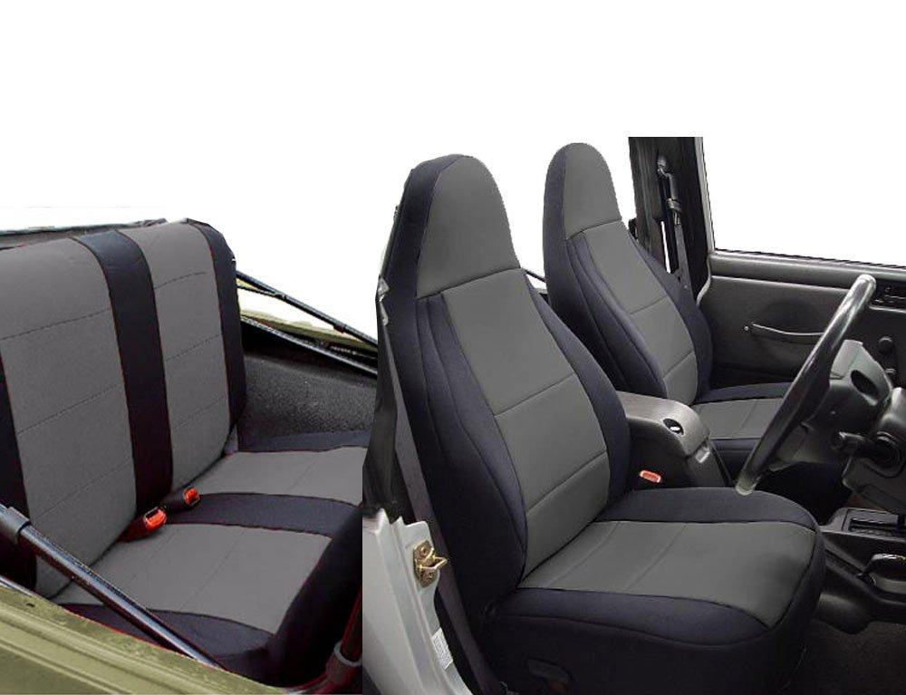 GEARFLAG Neoprene Seat Cover Custom fits Jeep Wrangler TJ 1997-02 Full Set (Front + Rear Set) (Gray/Black) by GEARFLAG