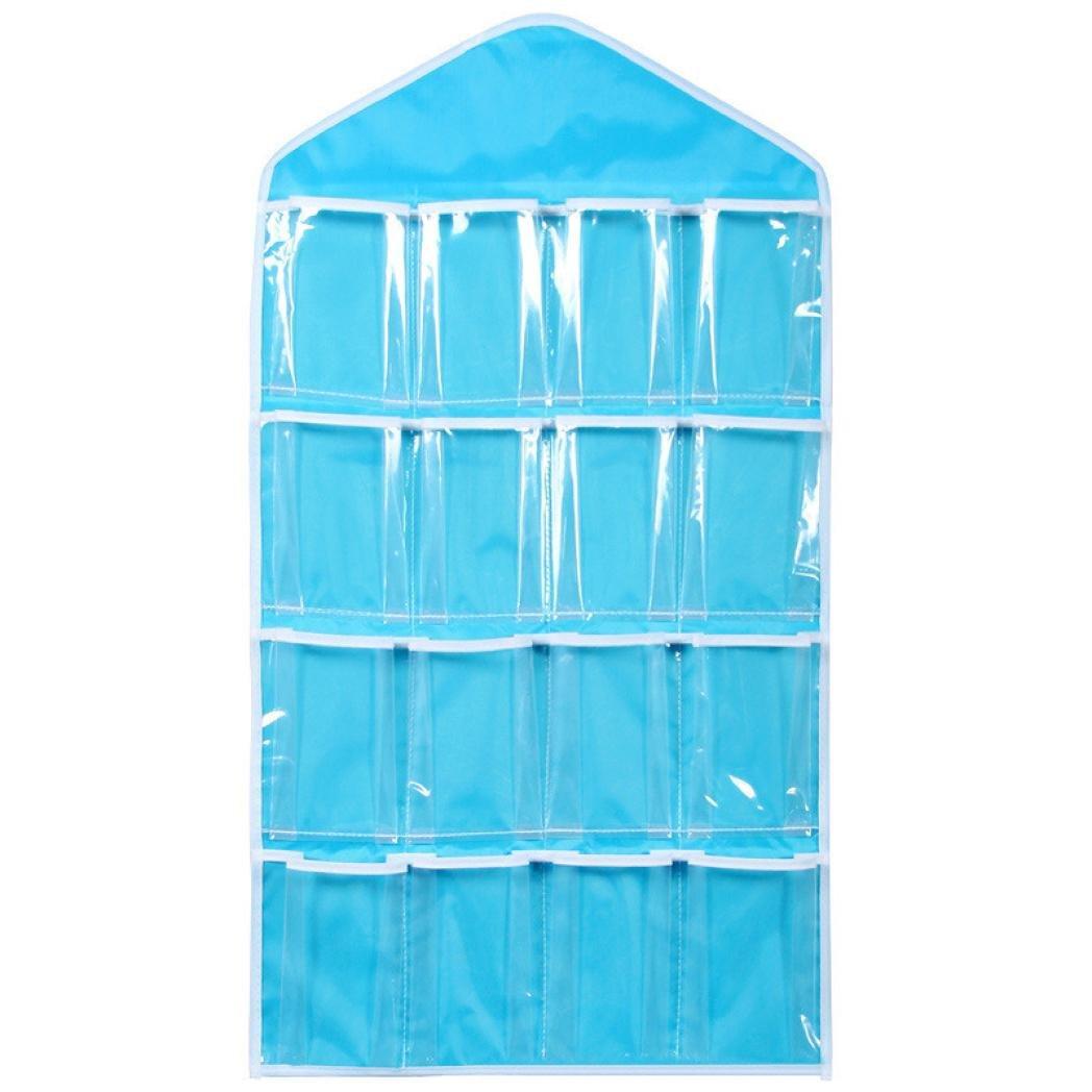 OUBAO Storage, 16Pockets Clear Hanging Bag Socks Bra Underwear Rack Hanger Storage Organizer (Blue)