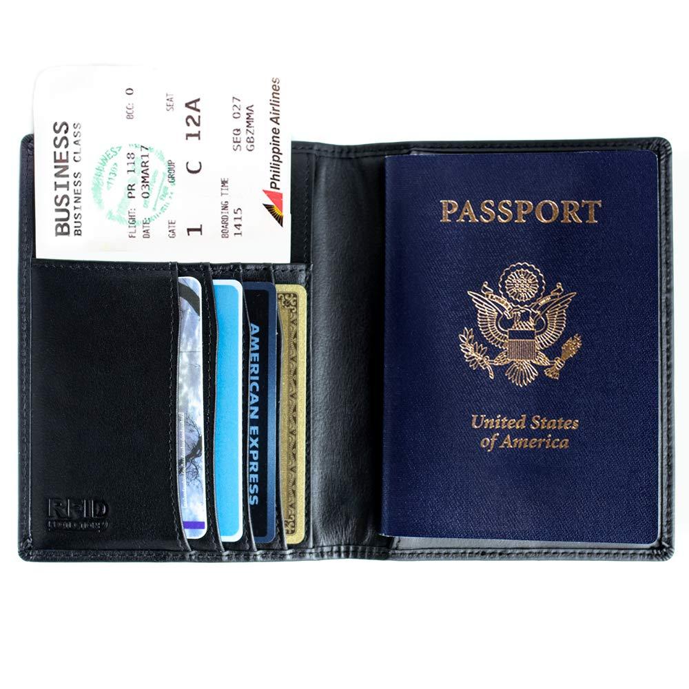 Deluxe Cuir Véritable Porte-passeport étui Protecteur de documents de voyage ID portefeuille