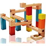 WISHTIME Wooden Marble Run Construction Blocks 33 Pieces Ball Track Large Basic Set Early Learning Construction Toys with 1 storage bag for Kids