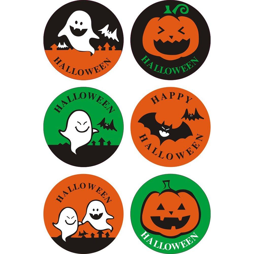 Zantec 50 PC Etiquetas engomadas del rollo de Halloween Pegatinas coloridas del cocido al horno que envuelven la etiqueta engomada del sellado de la decoración del regalo Pegatinas
