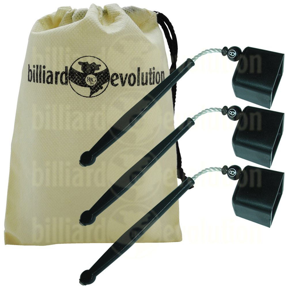 Set of 3 Black Pocket Chalk Holders with Billiard Evolution Drawstring Bag