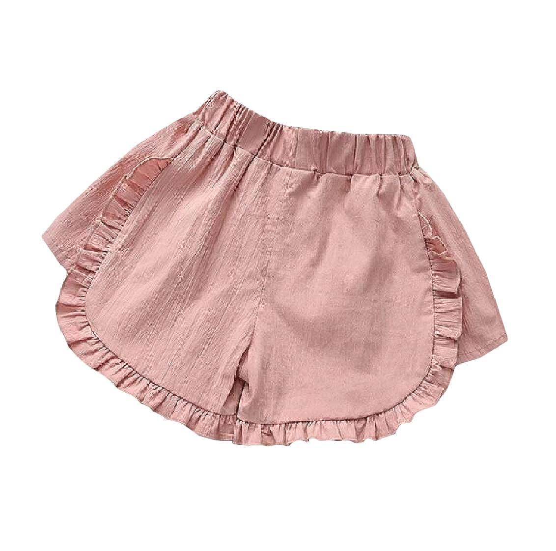 Hajotrawa Girls Simple Loose Solid Elastic Waist Trim Cute Shorts