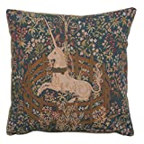Home Furnishings, La Licorne Captive I, French Tapestry Cotton Throw Pillow Case, Hand Finished Cushion Cover, 19 by 19 Inch