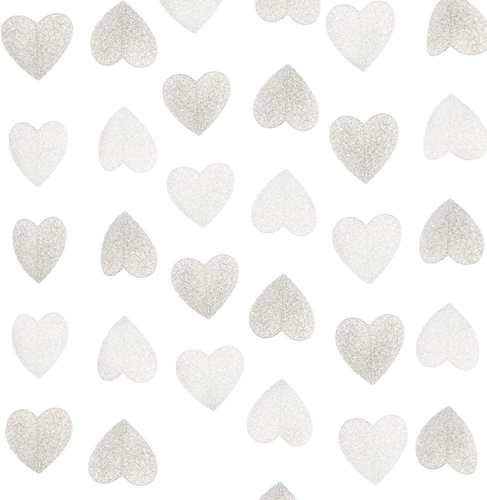 Lacheln Glitter Paper Heart Garland Hanging Party Decorations for Wedding,Baby Shower, Christmas Decor,20 Feet Total (Glitter Silver)