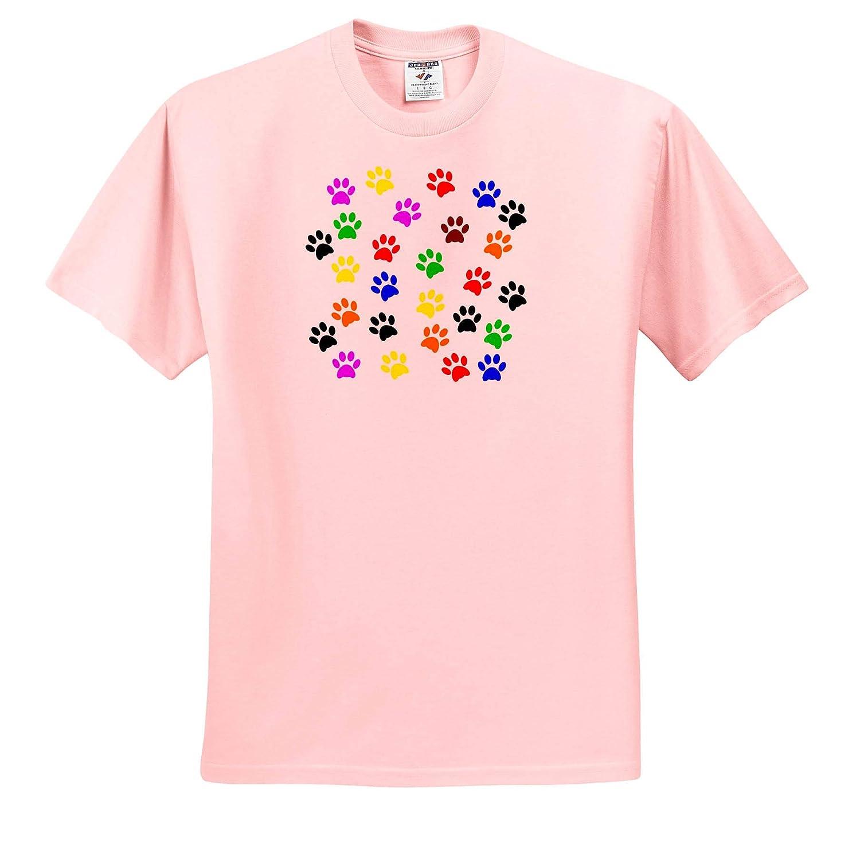 3dRose Sandy Mertens Dog Designs Dog Cat Pet Colorful Paw Prints Silhouette Pattern T-Shirts 3drsmm