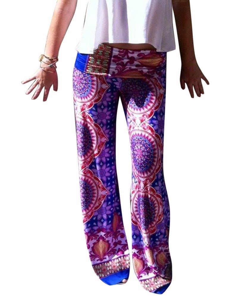 Moollyfox Mujer Púrpura Impresión Pierna Ancha Estilo Étnico Modelada Floral Pantalón De Pierna Anch...