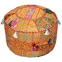 Aakriti Gallery Indian Pouf Footstool Ethnic Embroidered Pouf Cover, Indian Cotton Round Pouffe Ottoman Pouf Cover Pillow Ethnic Decor Art - Cover Only (18x13inch) (Orange)