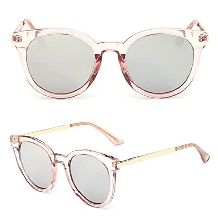 82af8519f6 Image Unavailable. Image not available for. Color  JAGENIE Retro Women Flat  Lens Mirrored Metal Frame Glasses Oversized Cat Eye Sunglasses TPS