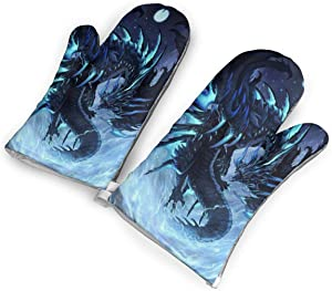 KEIOO Mysterious Blue Dragon Oven Mitts Heat Resistant Oven Gloves,Non-Slip Cooking Kitchen Oven Mitts for Baking BBQ,1Pair
