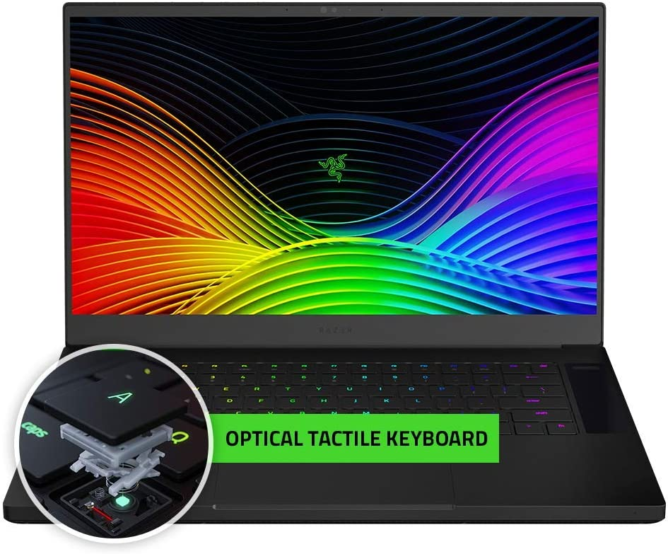 "Razer Blade 15 Gaming Laptop 2019: Intel Core i7-9750H 6 Core, NVIDIA RTX 2070 Max-Q, 15.6"" FHD 240Hz, 16GB RAM, 512GB, Optical Key Switches, CNC Aluminum, Chroma RGB Lighting, Thunderbolt 3 (Renewed)"