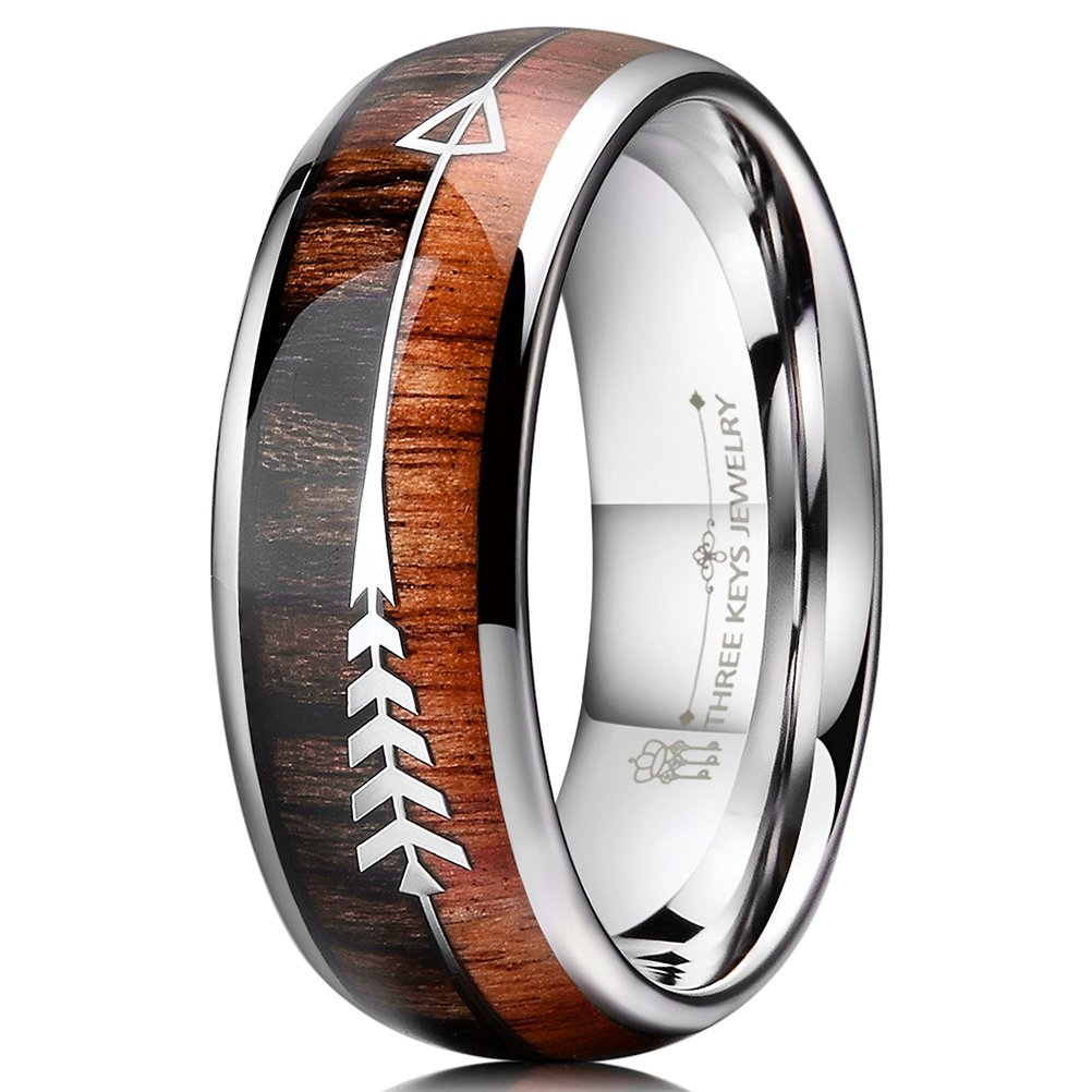 Three Keys Jewelry 8mm Silver Tungsten Wedding Ring with Koa Wood Zebra Wood Two Arrows Inlay Dome Hunting Ring Wedding Band Engagement Ring Size 9.5