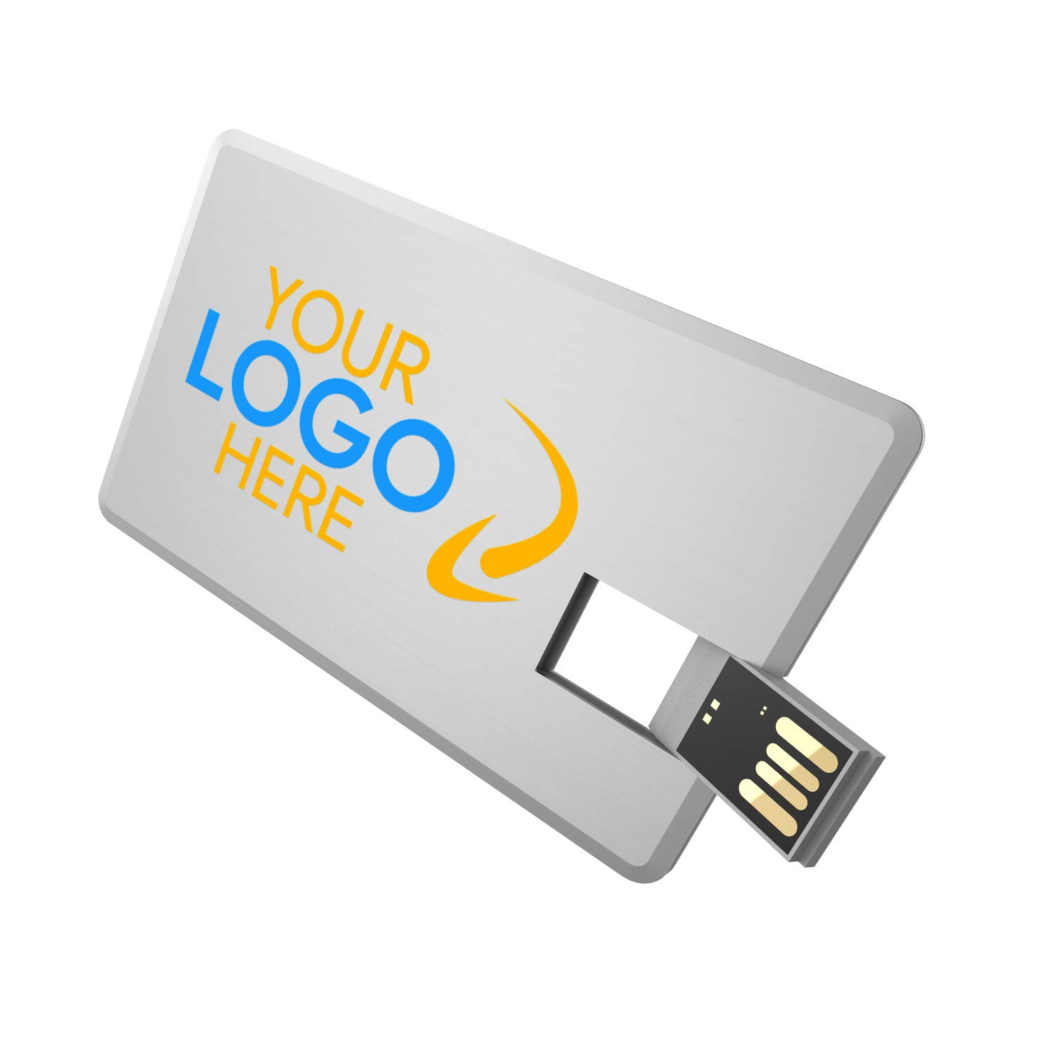 Custom Business/Credit Card Wallet Flash Drive - Full Color Edge-to-Edge 2 Sided Logo Imprint - 128GB - Silver Metal - Printed in The USA - 200 Pack