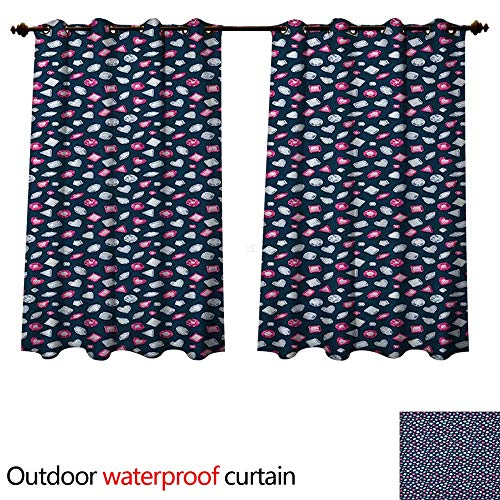 Anshesix Diamonds 0utdoor Curtains for Patio Waterproof Round Marquise Square and Heart Shape Arrangement on Dark Color W84 x L72(214cm x 183cm)