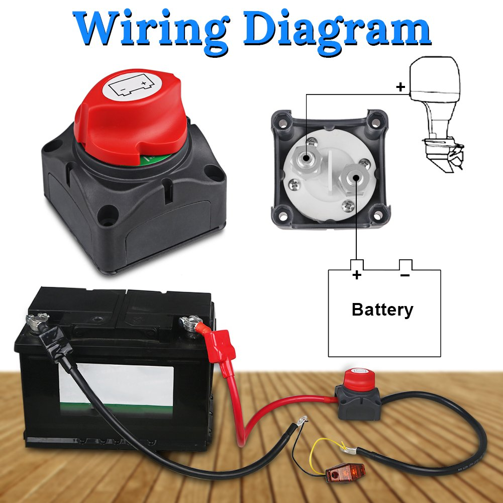 Waterwich Dc 8 60v Battery Disconnect Switch Cut Shut 1990 Chevy Isolator Wiring Diagram Off Marine 275 1250 Amp Waterproof For Ship Boat Small Yacht Rv Camper