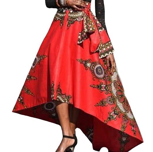 40664c5f96f SportsX Women African Dashiki Big Hem Irregular Elegant Skater Skirt Red XS