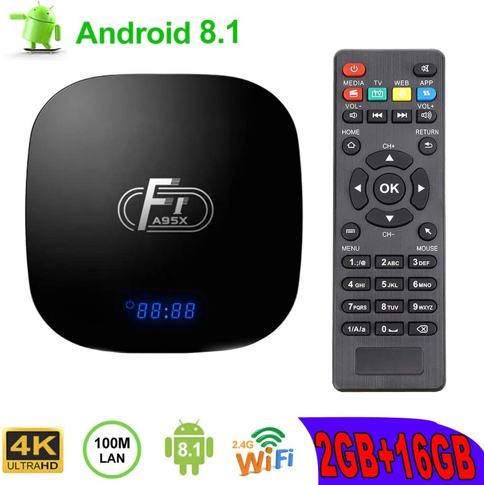 A95X F1 Android TV Box, A95X F1 Android 8.1 TV Box 2GB RAM/16GB ROM Amlogic S905W Quad-Core Support 2.4Ghz WiFi 4K HDMI DLNA 3D Smart TV Box: Amazon.es: Electrónica