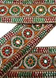 Vintage Sari Border Antique 1YD Used Hand Beaded Indian Trim Green Ribbon Lace