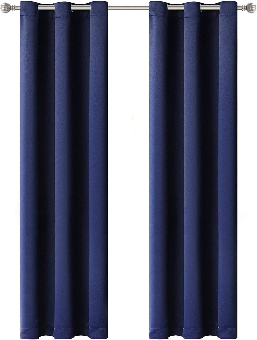 LORDTEX Blackout Curtains for Bedroom -Thermal Insulated Curtains with Grommet Top Room Darkening Noise Reducing Window Drapes for Living Room, 2 Panels, Navy, 42 x 84 inch