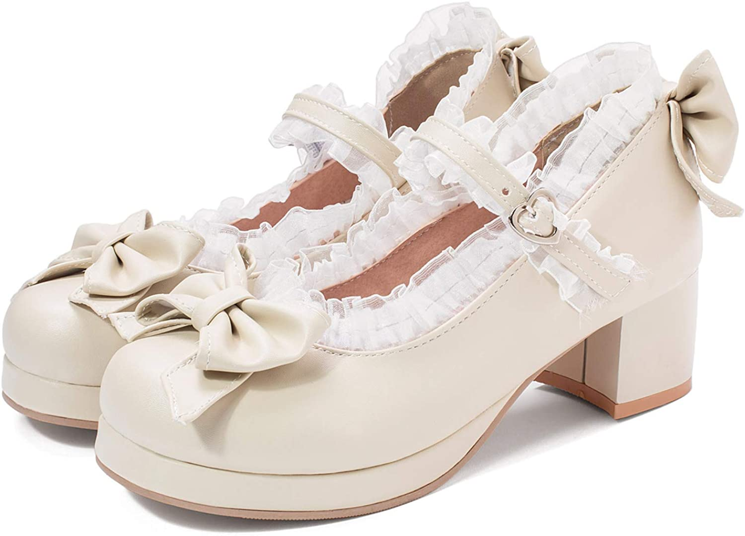 Details about  /Women Brogue Lolita Ankle Strap Bowknot Round Toe Chunky Heel Mary Janes Pumps D