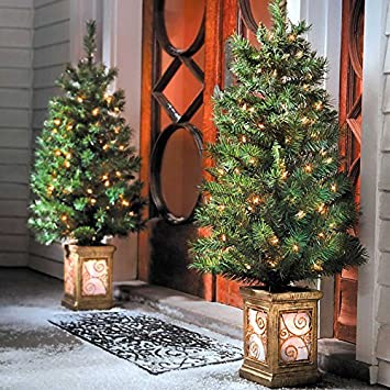 4 ft pre lit entryway trees set of 2