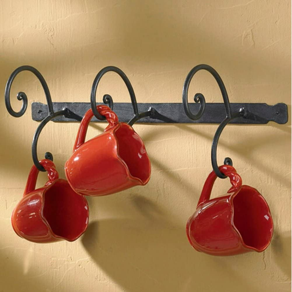 NSAIHFWGFKQD Coffee Mug Wall Rack,European Retro Arts Hanging Cup Holder Under Shelf Mugs Cups