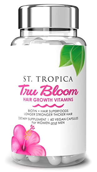Amazon Com St Tropica Hair Vitamins For Hair Growth Treatment Superfood Formula Helps Prevent Hair Loss Thinning Proteins Minerals For Longer Stronger Thicker Hair Vegan 2 Month Supply 60 Count Beauty