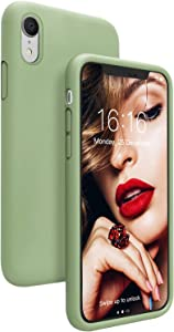 JASBON Case for iPhone XR, Soft Liquid Silicone iPhone XR Case with Raised Edges Cover for iPhone XR-Matcha