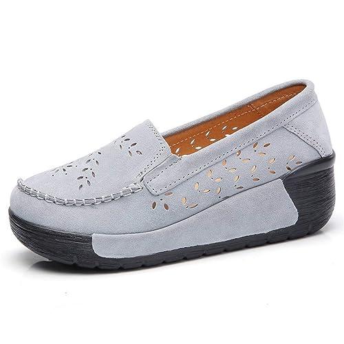 Zapatos Planos De Plataforma De Las Mujeres Mocasines Mocasines Zapatillas OscilacióN Agujero CuñAs del Dedo del Pie Redondo Zapatos Casuales: Amazon.es: ...