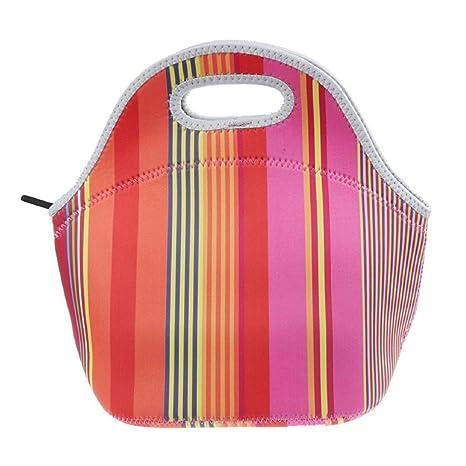 Bolsa del almuerzo - SODIAL(R)Caliente aislamiento termico neopreno El almuerzo bento envase de alimento Mas grueso Bolsa bolso de mano (vistoso raya)