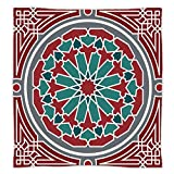 Super Soft Throw Blanket Custom Design Cozy Fleece Blanket,Arabian,Elegant Islamic Original Old Style Ornate Persian Pattern with Victorian Artsy,Red Grey Teal,Perfect for Couch Sofa or Bed