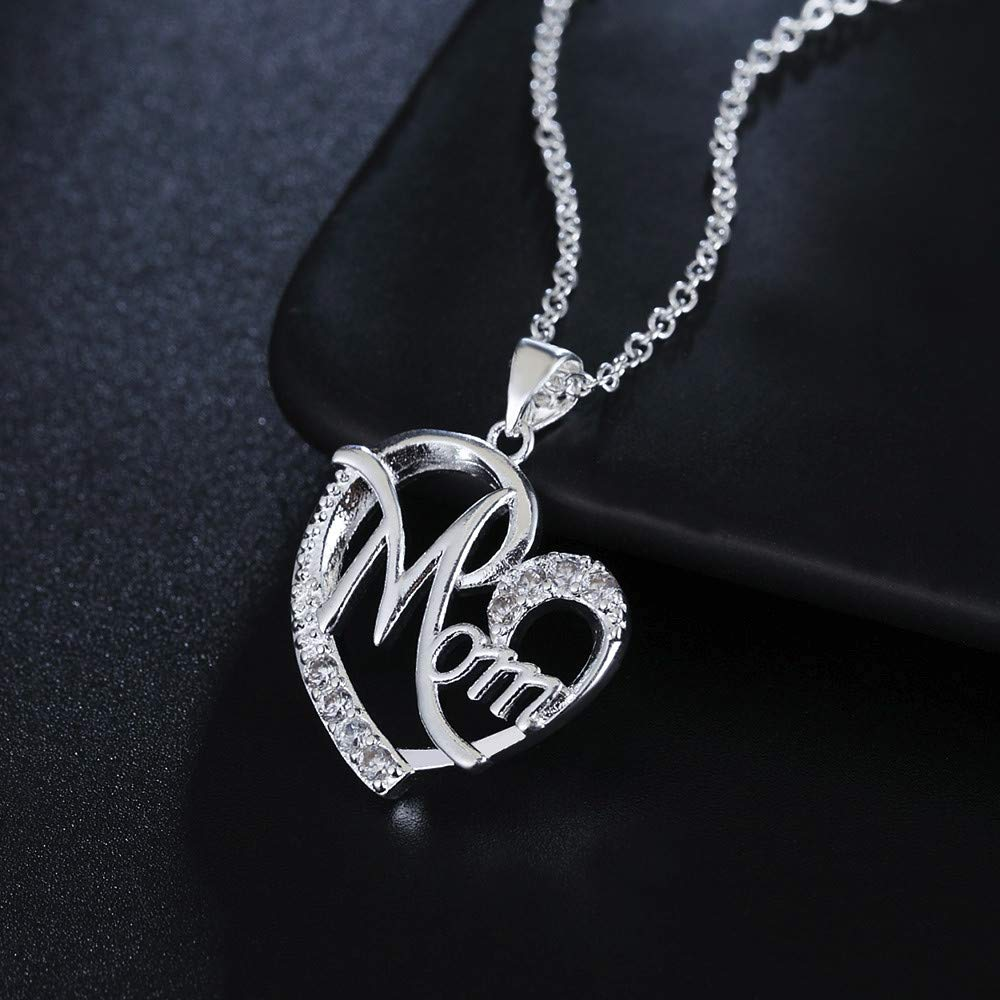 Amazon com: Fengdin Openwork Silver Heart Necklace Clavicle
