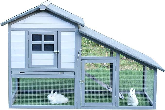 YCDJCS Gallinero de Madera Resistente a la Intemperie Conejo Hutch Casa con Aire Run Conejito Hutch Casa Hogar Rabbit Breeding Valla Suministros Jaula del Animal doméstico Gallineros y jaulas