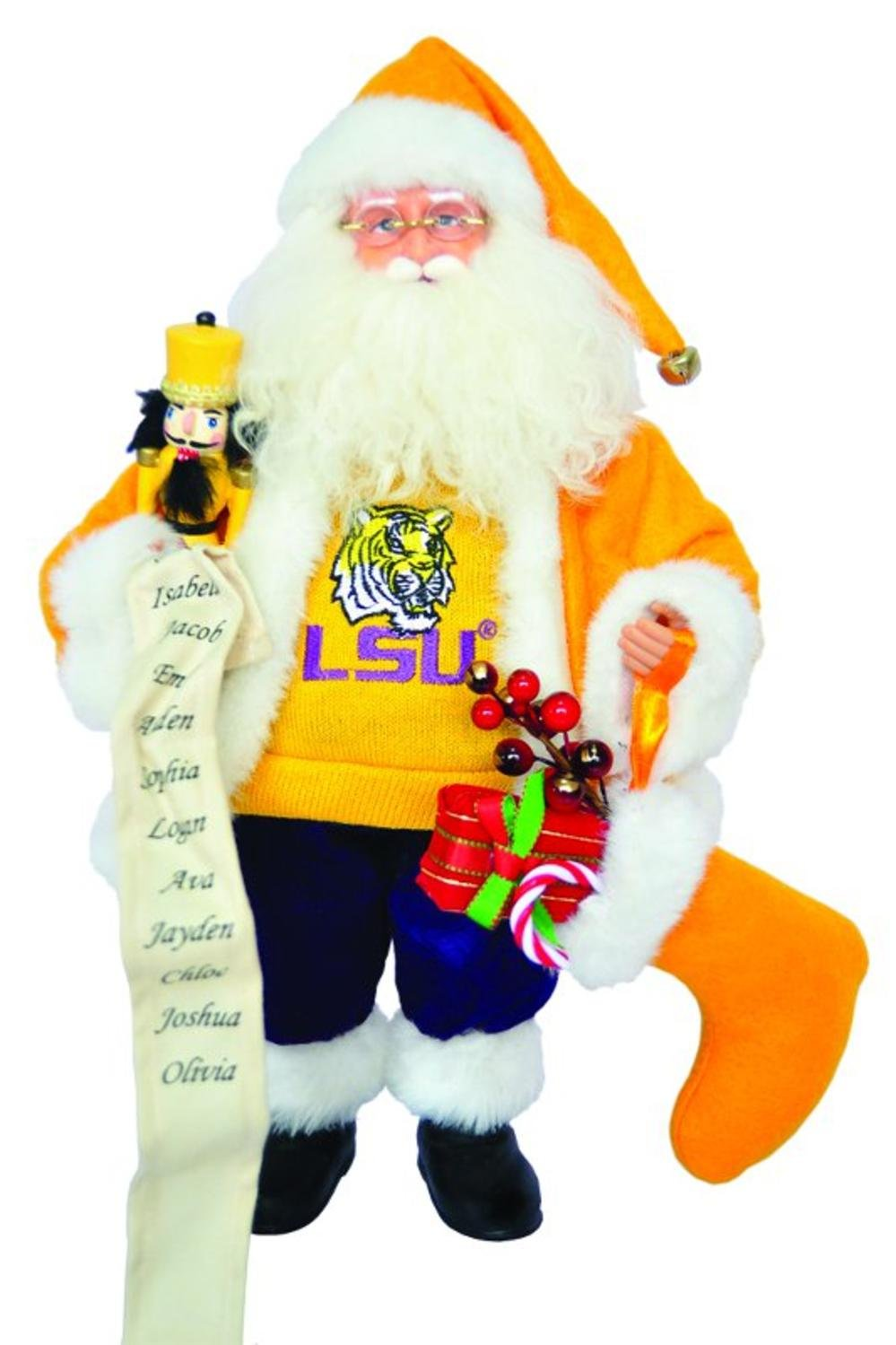15'' NCAA LSU Tigers Santa Claus Christmas Figure with Nutcracker and Stocking